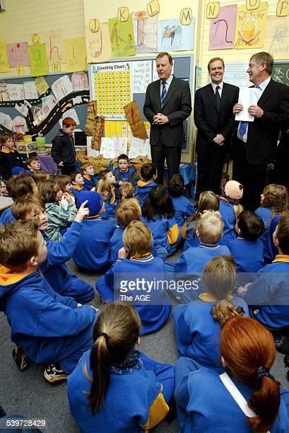 The Honorary Peter Costello MP Federal Treasurer at Silvan Primary School assembly 22 August 2005 THE AGE NEWS Picture by ANDREW DE LA RUE