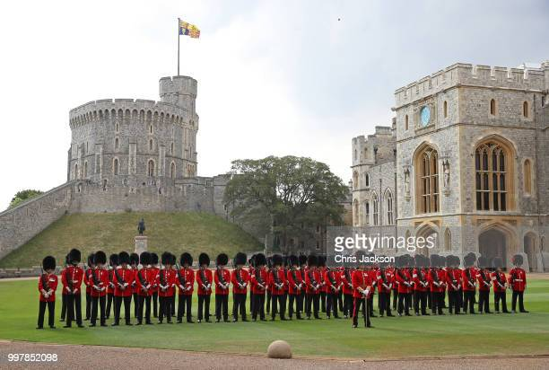 The honour guard awaits the arrival of the President of the United States, Donald Trump and First Lady, Melania Trump at Windsor Castle on July 13,...