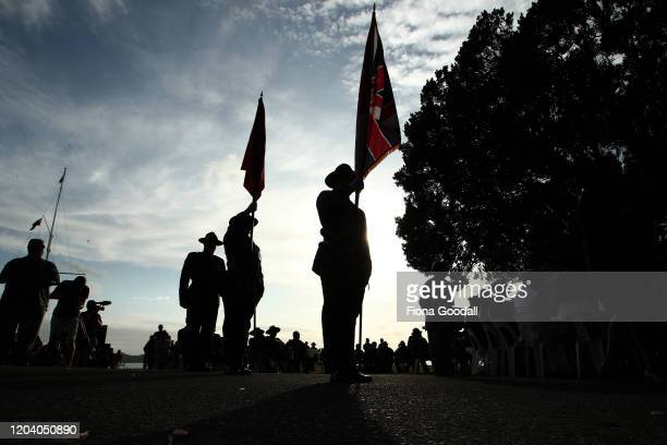 The honour guard wait to enter at the opening of Te Rau Aroha on February 05 2020 in Waitangi New Zealand The $146 million Maori Battalion Museum...