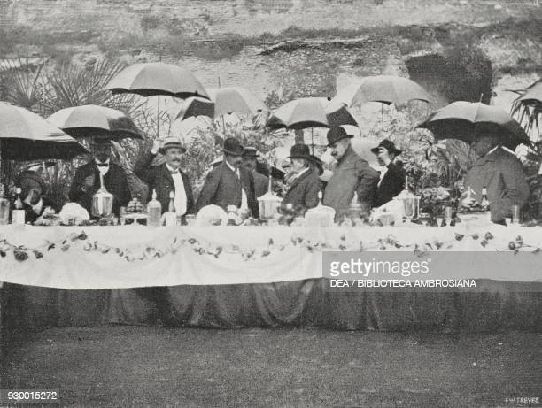 The honour table popular feast in Palatine offered to Mayor Prospero Colonna Rome Italy photograph by Dante Paolocci from L'Illustrazione Italiana...