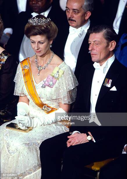 The Honourable Angus Ogilvy Attending A Banquet With His Wife Princess Alexandra At Guildhall In Honour Of The Netherlands State Visit