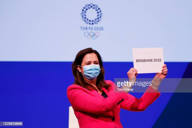 The Honourable Annastacia Palaszczuk MP, celebrates after Brisbane was announced as the 2032 Summer Olympics host city during the 138th IOC Session...