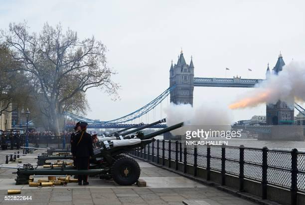 The Honourable Artillery Company fire a 62 gun salute against a backdrop of London's Tower Bridge on April 21 as Britain's Queen Elizabeth II...