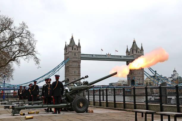 GBR: Historic Gun Salutes Mark The Passing Of His Royal Highness The Duke Of Edinburgh