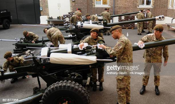 The Honourable Artillery Company polish the guns as they prep their kit and personnel at Armoury House London for the Royal Gun Salute from the Tower...