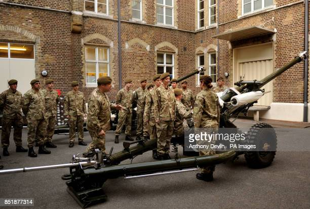 The Honourable Artillery Company practice loading the guns as they prep their kit and personnel at Armoury House London for the Royal Gun Salute from...
