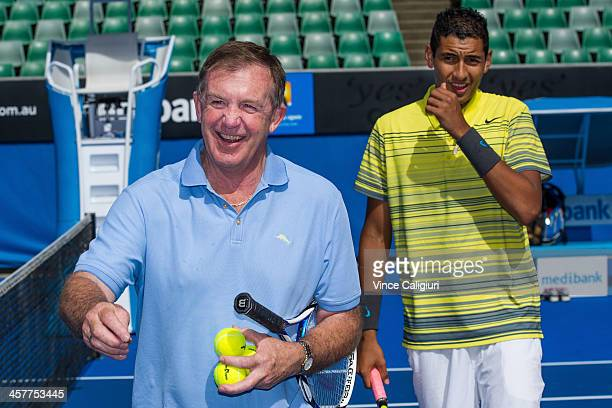The Honourable Hugh Delahunty MP Minister for Sport and Recreation and Nick Kyrgios of Australia after a hit out of the new look Margaret Court Arena...