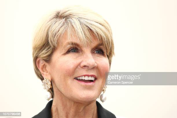 The Honourable Julie Bishop MP and 'Ocean Respect Racing' ambassador speaks to media and guests on November 22 2018 in Sydney Australia The formation...