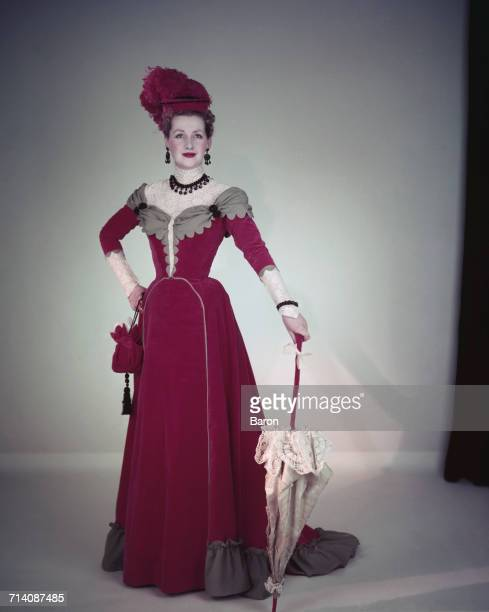 The Honourable Mrs Gerald Legge later known as Comtesse de Chambrun and Raine Spencer Countess Spencer wearing Edwardian period costume London 1953...