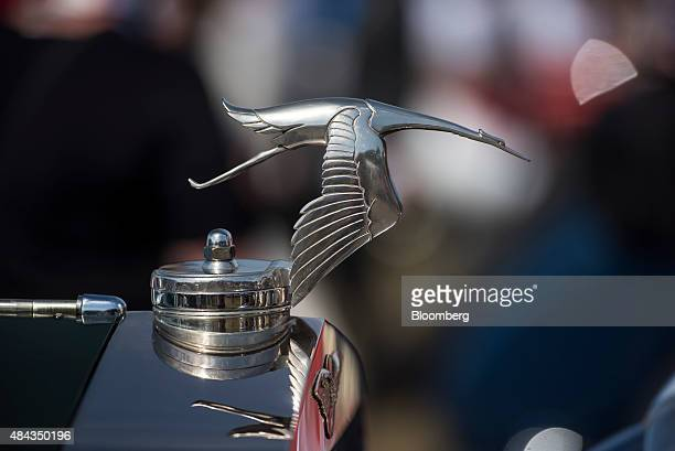 The hood ornament of a 1929 HispanoSuiza H6B Hubbard Darrin Cabriolet de Ville vehicle is seen during the 2015 Pebble Beach Concours d'Elegance in...