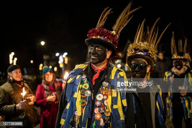 The Hook Eagle Morris Men gather before performing a dance outside the Waggon and Horses Pub after a 'Wassail' on January 4 2019 in Hartley Wintney...