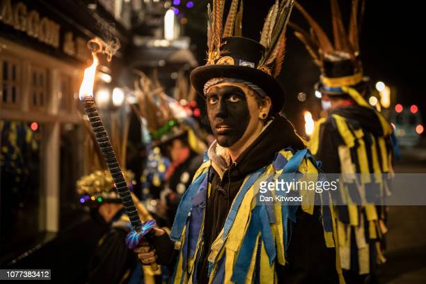 The Hook Eagle Morris Men gather outside the Waggon and Horses Pub before performing and leading villagers to an orchard to 'Wassail' on January 4...