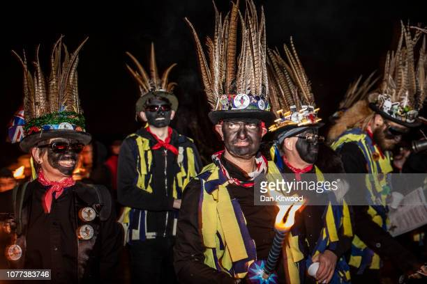 The Hook Eagle Morris Men lead villagers to an orchard to 'Wassail' on January 4 2019 in Hartley Wintney England In this ancient ritual villagers and...