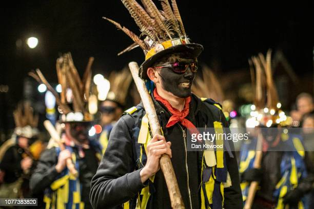 The Hook Eagle Morris Men perform a dance outside the Waggon and Horses Pub after a 'Wassail' on January 4 2019 in Hartley Wintney England In this...