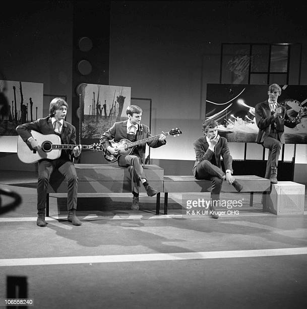 The Hootenanny Singers featuring Bjorn Ulvaeus later of Abba playing guitar on left perform on a TV show in 1966 in Hamburg Germany