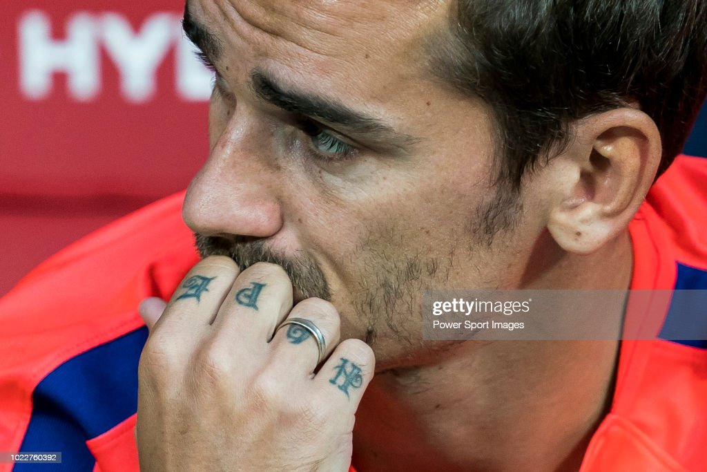 the 'hope' tattoo on antoine griezmann of atletico de madrid's