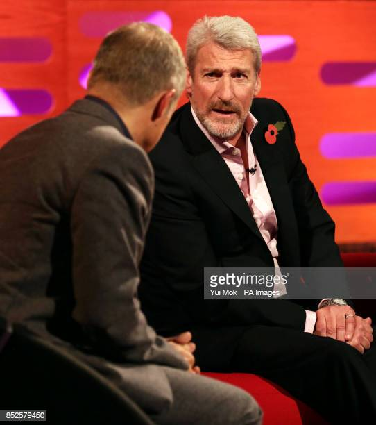 The hopst with guest Jeremy Paxman during filming of The Graham Norton Show at The London Studios in south London