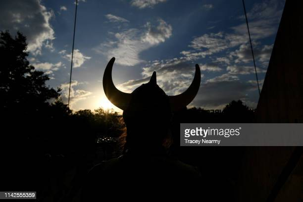 The horns of a Raiders fans helmet are silhouetted before the Round 5 Canberra Raiders and Parramatta Eels match at GIO Stadium on April 14 2019 in...