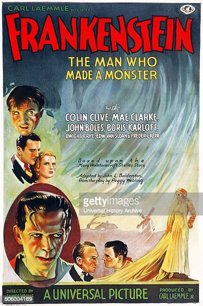 The horror film 'Frankenstein The Man who Made a Monster' with Colin Clive Mae Clarke John Boles and Boris Karloff was made in 1931