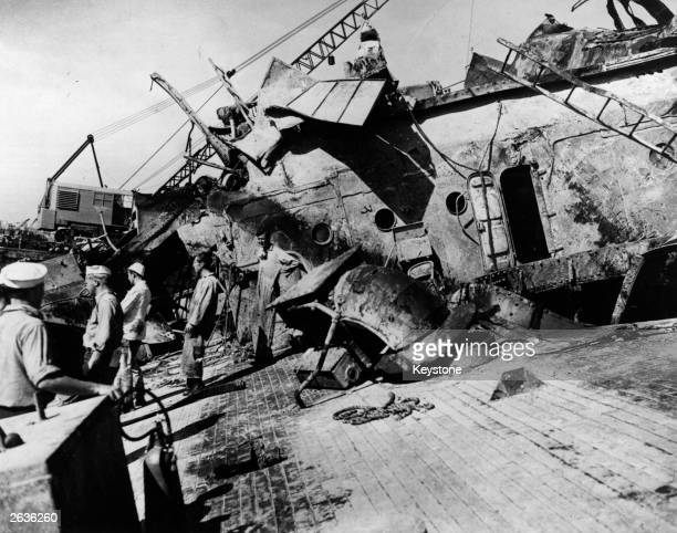 The horror of destruction at the US Naval Base of Pearl Harbour which was attacked without warning by the Japanese airforce on the 7th December 1941...