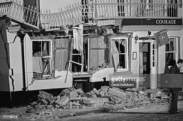 The Horse and Groom pub in Guildford Surrey wrecked after an IRA bomb which killed five people and injured 60 more 5th October 1974