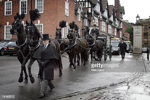 The horse drawn hearse arrives at the funeral service for fashion stylist Isabella Blow at Gloucester Cathedral on May 15 2007 in Gloucester England...