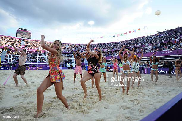 The Horse Guards Parade dance group keep the crowd entertained during the Women's Beach Volleyball bronze medal match between Brazil and China at...