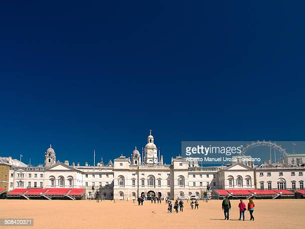 CONTENT] The Horse Guards Parade with other building such as the Household Cavalry Museum and the london Eye in the right side of the image