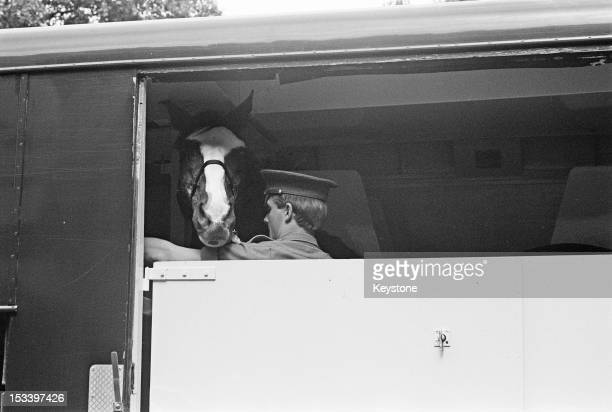 The horse Sefton of the Blues and Royals cavalry regiment leaving Hyde Park Barracks in a horse box on his way to retirement after seventeen years...