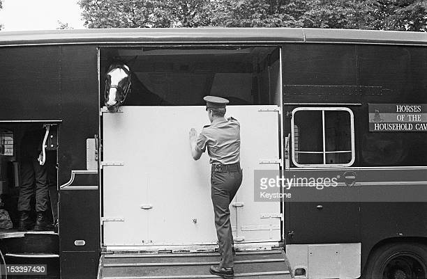 The horse, Sefton, of the Blues and Royals cavalry regiment, leaving Hyde Park Barracks in a horse box on his way to retirement after seventeen years...