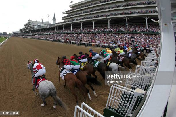 The horses break from the gate at the start of the 137th Kentucky Oaks at Churchill Downs on May 6 2011 in Louisville Kentucky
