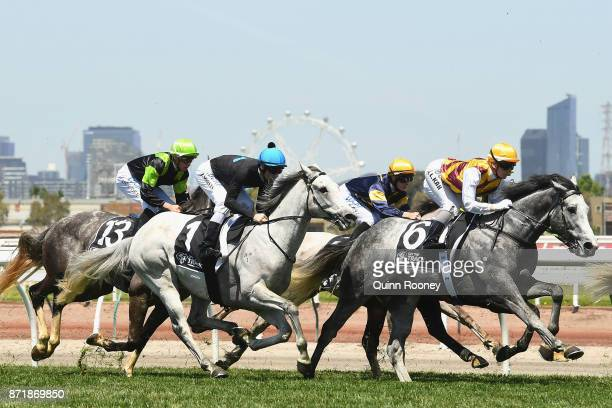 The horses go around the bend in race 3 the Off the Track Subzero Handicap on 2017 Oaks Day at Flemington Racecourse on November 9 2017 in Melbourne...