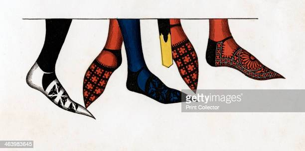 The hose and shoes worn by princes at the court of Edward III, . Footwear from the time of Edward III .