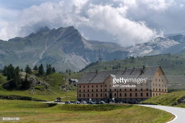 The hospice of the Simplon is seen on July 21 2017 at the Simplon Pass / AFP PHOTO / Fabrice COFFRINI