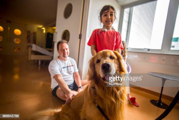 The Hospital Infantil Sabará located in the neighborhood of Higienópolis in São Paulo receives the visit of the dog therapist on October 26 2017...