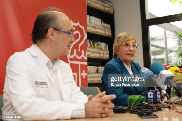 The hospital manager Miguel Rovira and the counsellor of Health Ana Barcelo talk during a press conference to inform about the Coronavirus infected...