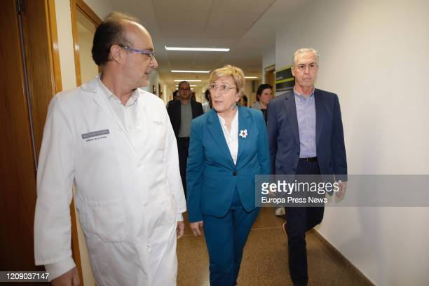 The hospital manager Miguel Rovira the counsellor of Health Ana Barcelo and the Territorial Director of Health Edelmiro Sebastian walk during their...