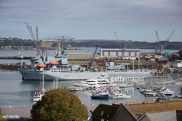 The hospital ship RFA Argus is seen as it prepares leave its home port of Falmouth for Sierra Leone on October 14, 2014 in Cornwall, England. The...