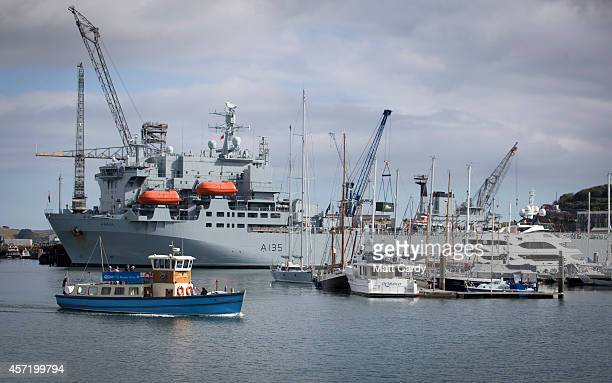 The hospital ship RFA Argus is seen as it prepares leave its home port of Falmouth for Sierra Leone on October 14 2014 in Cornwall England The...