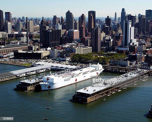 The Hospital Ship USNS Comfort docks September 17 2001 in Manhattan The ship was deployed to New York to render assistance following the September 11...