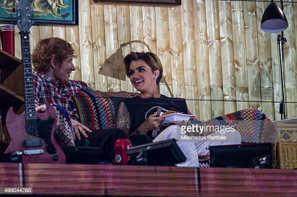 The host Ruby Rose and the songwriter Ed Sheeran during a sketch at the MTV Europe Music Awards Milan Italy 25th October 2015
