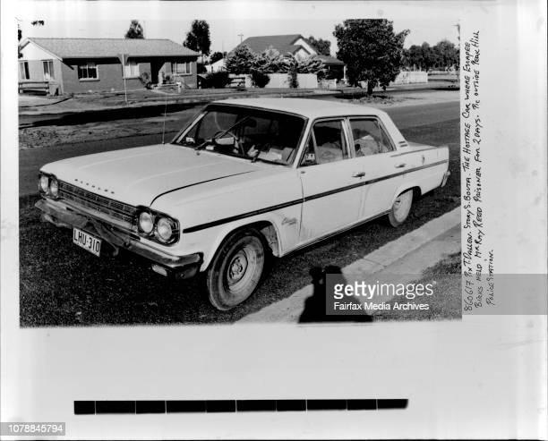 The Hostage Car where Escaper Birks held Mr Ray Prisoner for 20days Pic outside Peak Hill Police Station June 17 1986