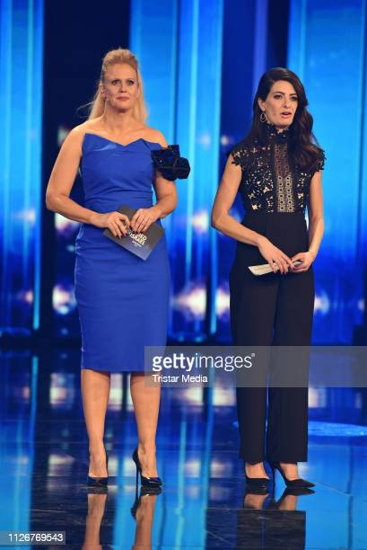The hosts Barbara Schoeneberger and Linda Zervakis during the ARD TV show 'Unser Lied fuer Israel' at Studio Berlin Adlershof on February 22 2019 in...