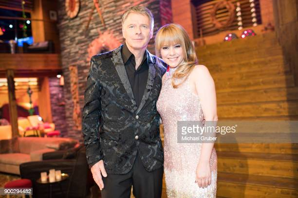 The Hosts Joerg Pilawa and Francine Jordi pose during the New Year's Eve tv show hosted by Joerg Pilawa on December 30 2017 in Graz Austria