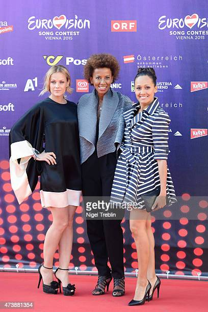 The hosts Mirjam Weichselbraun Alice Tumler and Arabella Kiesbauer arrive to the Opening Ceremony of the Eurovision Song Contest 2015 on May 17 2015...