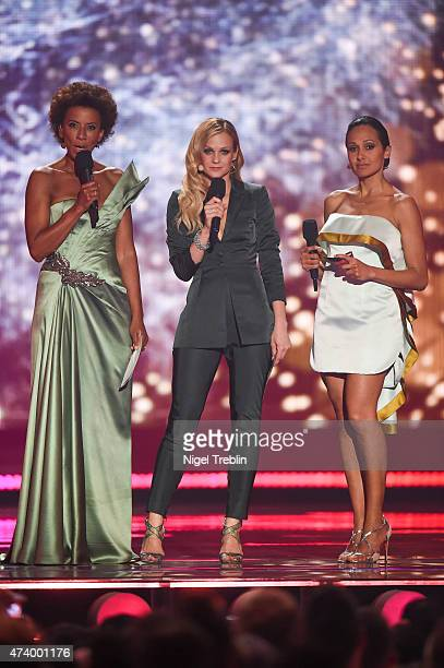 The hosts Mirjam Weichselbraun, Alice Tumler and Arabella Kiesbauer performs on stage during the first Semi Final of the Eurovision Song Contest 2015...