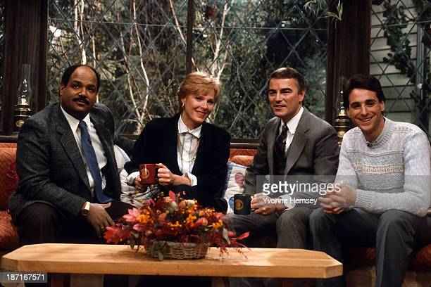 The hosts of CBS' The Morning Show weatherman Mark McEwen Mariette Hartley Rolland Smith and Bob Saget are photographed on the set January 14 1987 in...