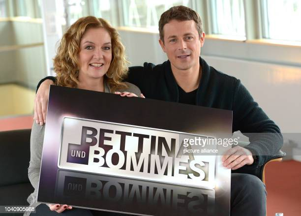 The hosts of the NDR talkshow 'Bettina und Bommes' Bettina Tietjen and Alexander Bommes speak to journalists at the NDR state broadcasting centre in...