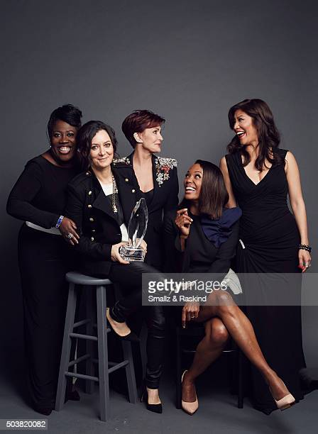 The hosts of 'The Talk' Sheryl Underwood Sara Gilbert Sharon Osbourne Aisha Tyler and Julie Chen pose for a portrait at the 2016 People's Choice...