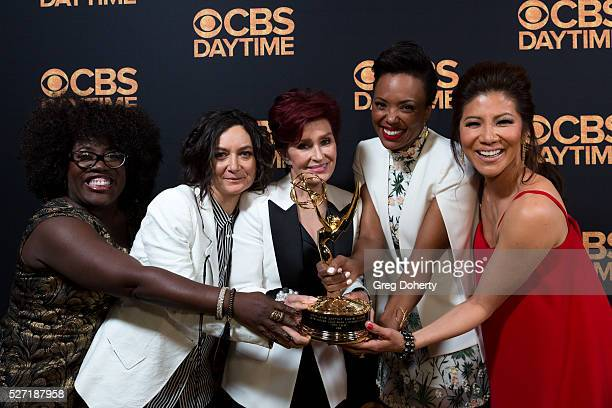 The hosts of the 'The Talk Show' arrive with their Emmy at the CBS Daytime Emmy After Party at the Alexandria Ballrooms on May 1 2016 in Los Angeles...